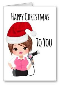 Hairdresser Happy Christmas Card Stylist Girl Brown Hair