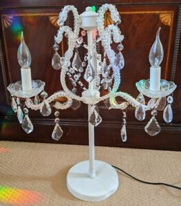 New Marie Therese French Style 3 Arm Light CREAM Glass Chandelier Table Lamp