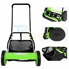 16 Inch Push Reel Lawn Mower with Grass Catcher 5 Blade Manual Quiet Cut ,Green