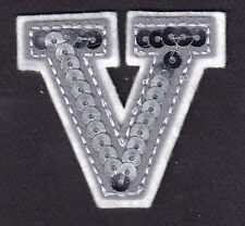 """LETTERS -  Silver  Sequin  2"""" Letter """"V"""" - Iron On Embroidered Applique"""