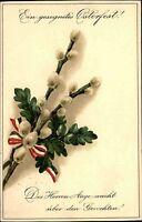 Frohe Ostern Fest ca. 1910 Prägekarte Weidekätzchen mit patriotischer Schleife
