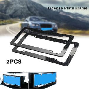 2PCS Carbon Fiber License Plate Holder Cover Frame Front/Rear USA/CA 4-Holes