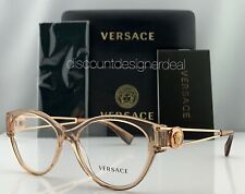 Versace Cateye Eyeglasses VE3254 5215 Clear Brown Frame Clear Demo Lens NEW 54mm