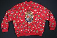 Vintage 80s 90s Baroque Crown Royalty Red Full Zip Windbreaker Bomber Jacket L