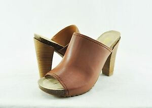 Women's Shoes Kenneth Cole Reaction Hook Slow Heel Mule Toffee Size8.5 RL06499LE
