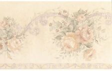 Light Elegant Bloom Rose Textured Vintage Cream Acanthus Wallpaper Wall Border