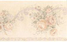 Light Elegant Bloom Rose Textured Vintage Cream Acanthus Wallpaper Wall Border