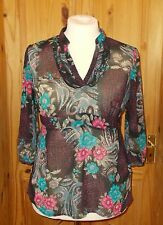 ROCHA JOHN ROCHA black pink blue grey floral chiffon 3/4 sleeve tunic top 16 44
