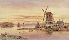 WINDMILLS ON RIVER HOLLAND - NETHERLANDS - Watercolour Painting - 19TH CENTURY