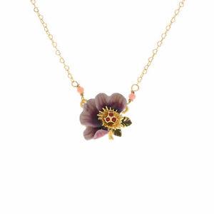 LES NEREIDES  14ct Gold Plated Purple Flower Necklace, rrp: £90