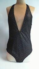 Peek & Beau Black/Gold Fishnet Swimsuit - Size Large - UK 14 #7A224