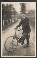 Postcard Shrewton Wiltshire on Salisbury Plain nr Amesbury man bicycle RP Marett