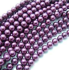 1 Strand 3 mm Violet Pearl perles de verre
