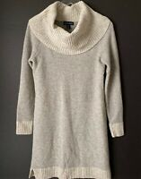 Cynthia Rowley Gray Cowl Neck Sweater Dress Lambs Wool Blend Small S