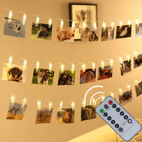 Photo Hanging Clips String 40 LED Fairy Lights for Pictures Cards+Remote 8 Modes