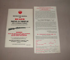 RUGER MINI 14 INSTRUCTION MANUAL AND WARRANTY CARD FOR 181- SN PREFIX RIFLES