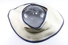 RETRO LADIES BLUE/ CREAM STRAW OPEN TOP SUMMER HAT UNIQUE (HT24)