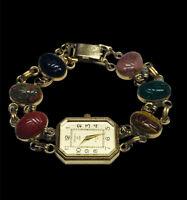 "KENNETH JAY LANE Gold Tone Carved Scarab Multi Color Gem Stone Watch Bracelet 7"""