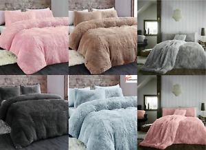 Long Pile Teddy Fleece Duvets Quilts Cover Set Warm Fluffy Bedding 2 Pillow Case