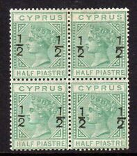 Cyprus 1882 ½pi on ½pi in a fine fresh mint block x 4