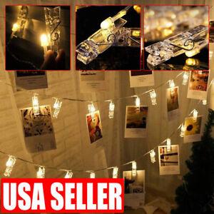 20 LED Photo Clip Card String Fairy Lights Battery Christmas Wedding Lamp