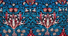 Velvet Feel Blue William Morris crafts style Digital printed fabric 4  metre £25