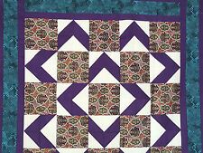 Unfinished Quilt Top - Walk About, Purple Design, Turquoise Border, approx 54x54