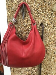 Large red genuine leather slouch hobo shoulder bag