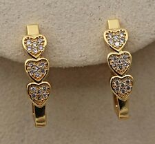 18K Yellow Gold Filled - Sweet Heart Topaz Party Hoop Gemstone Hollow Earrings