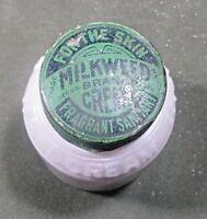 MILKWEEK Brand Cream...Skin empty Ingrams milk glass jar w revers N ᵇ V2