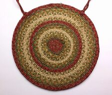 "Homespice Decor ABERDEEN Braided Jute 15"" Round Chair Pad Tan, Greens, Rusty Red"