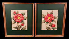 PAIR FRAMED VINTAGE SHIRRELL GRAVES RED FLOWERS WATERCOLOR PAINTINGS CALIFORNIA