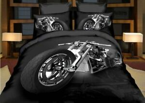 Motorbike Harley Quilt Cover Set + Pillowcase - Single Double Queen Size Bedding
