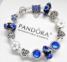 Authentic Pandora Charm Bracelet Silver Bangle Crystal Love Blue European Charms
