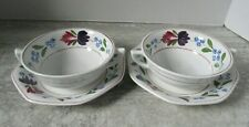 Pair of Old Vintage Adams Old Colonial English Ironstone Cream Soup Bowls