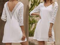 Sommer Kleid Hängerchen Tunika Häkel Spitze unterlegt  36 38 40 Weiß R470 NEU