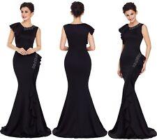 Abito lungo volant scollo Svasato Cerimonia Ballo Party Mermaid Evening Dress S