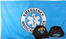 Wholesale Combo 3x5 Emergency Medical Service Flag & EMS Gold Black Hat Cap