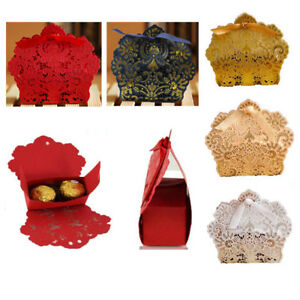10pcs Lace Laser Cut Cake Candy Favor Ribbon Gift  Candy Boxes Wedding Party