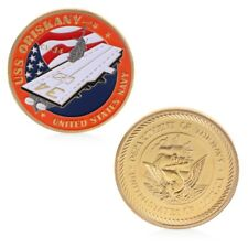 Golden Navy Aircraft Carrier American Commemorative Coin Challenge Craft Gift