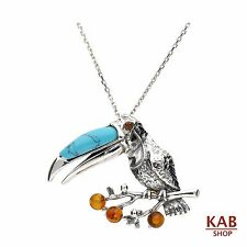 BALTIC AMBER & TURQUOISE STERLING SILVER 925 PENDANT - BIRD TOUCAN, KAB-205