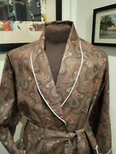 Vintage Derry Masters satin cotton dressing gown smoking coat Paisley piping
