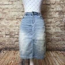 WITCHERY Size 10 Faded Denim Straight Skirt Stretch Casual Summer