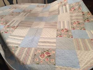 Shabby Decor Blue And Rose Twin Quilt +  2 Shams 87x79