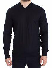 NWT $700 DOLCE & GABBANA Blue Silk Cashmere V-neck Sweater Pullover IT50 / L