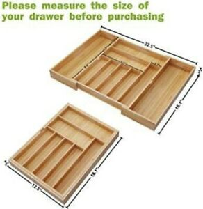 Expandable Bamboo Wooden Utensil Cutlery Kitchen Silverware Drawer Organizer