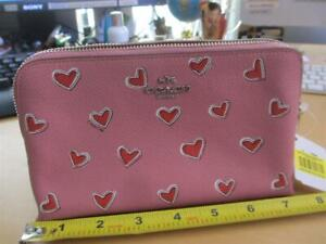 New Pink red hearts COACH New York zipper make up carry all case bag purse phone