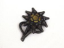 WWII German Office EDELWEISS Mountain Metal Cap Badge InsigniaSilver Black