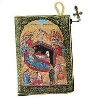 "Nativity Icon Tapestry Pouch Keepsake Rosary Prayer Bead Case 5 3/8""x4"""