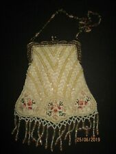 Antique Glass Beaded and Embroidered Evening Bag Ivory